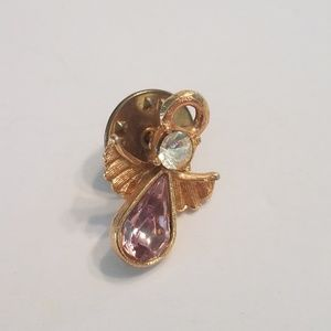 Gold Tone Angel Pin Pink And Clear Rhinestones